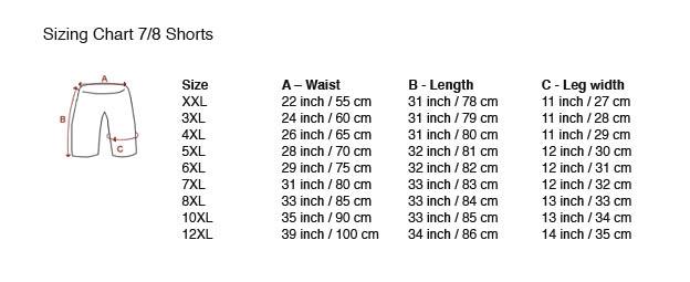 Tabella delle taglie 7/8 Shorts