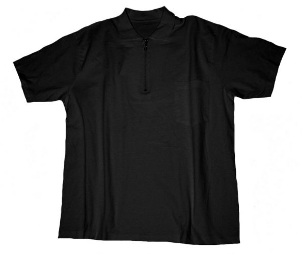 Polo T-Shirt con taschino e con Zip nero